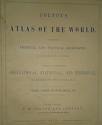 Vintage 1857 MAP ~ EASTERN HEMISPHERE ~ Old Antique Original Colton's Atlas Map 2