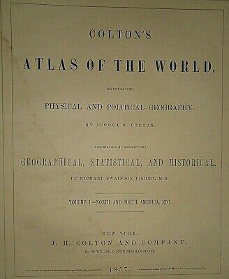 Vintage 1857 MAP ~ ENGLAND - WALES ~ Old Antique Original Colton's Atlas Map 2