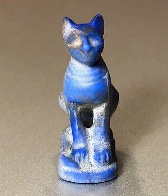 Ancient Egyptian Lapis Lazuli Pendant Of Goddess Bastet - Charming Piece! 2