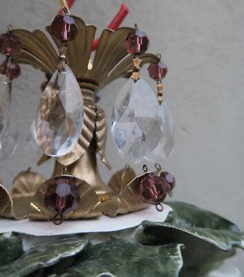 Porcelain ROSE pink Chandelier SWAG lamp Capodimonte Brass Vintage crystal 8
