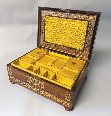 Antique Regency Rosewood Sewing Box. Brass Inlays. Original. Genuine. 2