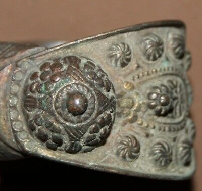 Antique Greek Orthodox medieval bronze fertility bracelet 5