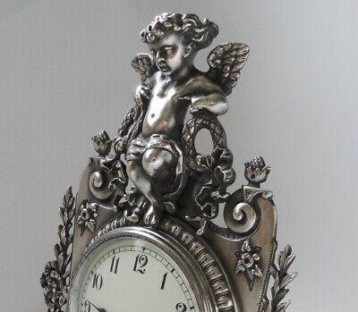 "12"" Silver Brass Statue Strutt Clock. Fine quality fully restored antique. c1900 2"