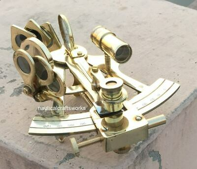 "Maritime  Astrolabe Model Sextant - Gift Solid Ship Brass Hand-Made 5"" Sextant 2"