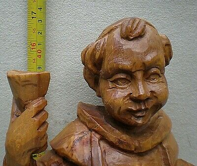 Very Large Black Forest Swiss Carving of a Monk with Raised Glass 3