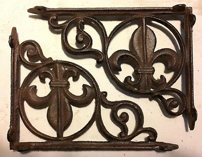 SET OF 2 FLEUR DE LIS SHELF BRACKET BRACE, Antique Brown Finish cast iron 6