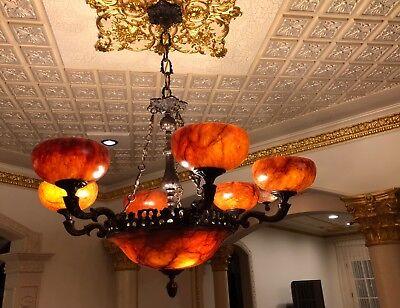 Light fixture chandelier 9 lights solid bronze real alabaster made in America 11