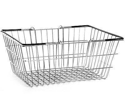 2 Handle Black Wire Shopping Basket Retail Supermarket Use Hand Carry Mesh 2