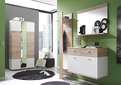 garderobe flurgarderobe set wei eiche hell schuhschrank h ngend spiegel campus eur 189 99. Black Bedroom Furniture Sets. Home Design Ideas