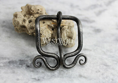 Hand-Forged Viking Belt Buckle with Curled Spirals - Norse/Celtic/Medieval/Steel 4