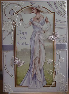 Art Deco Personalised Handmade 60Th Birthday Card A Elegant Lady In Lilac 2