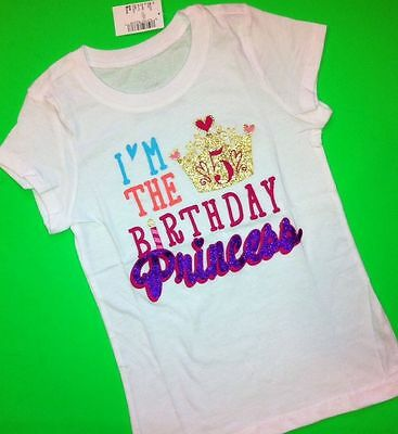 NEW 5th BIRTHDAY 5 Years Girls Happy PRINCESS Shirts 4 6 Small