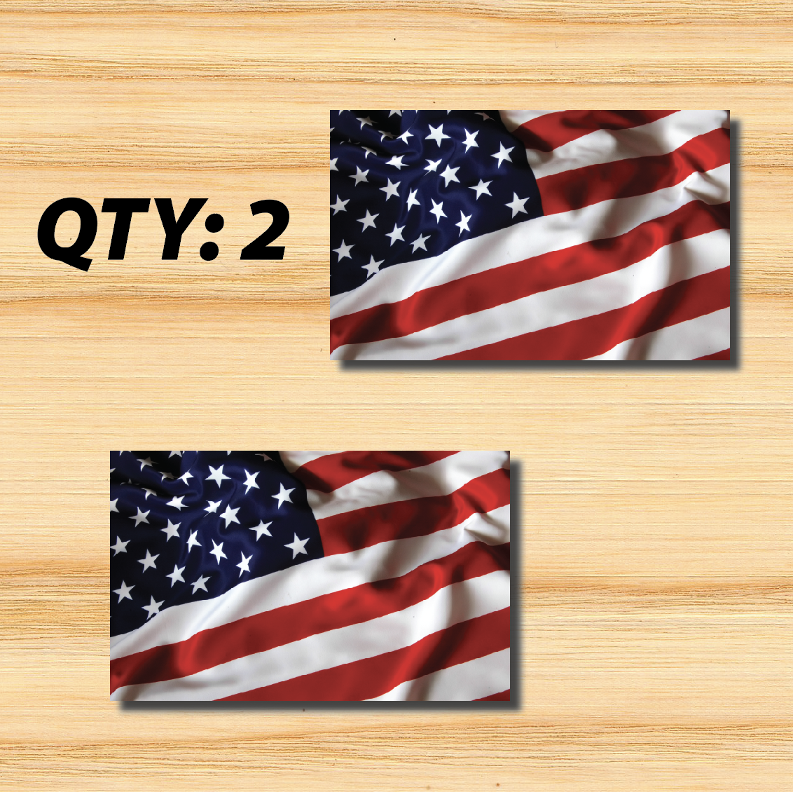 TWO (2) 2X3 INCH American Flag USA US Bumper UV Vinyl Outdoor ...