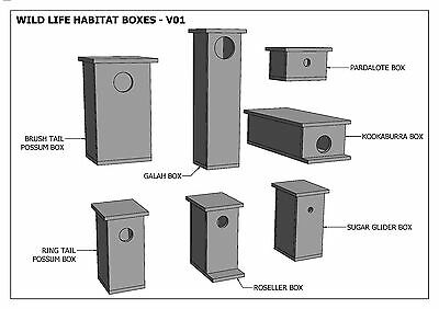 (BUILDING PLANS) for POSSUM BOX - ROSELLA - BIRD BOXES / HOUSE- & MORE - SAVE $$ 4