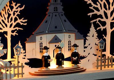 3D LED Lichterbogen Schwibbogen Seiffen Kirche 6 Bergleute Bergmann 78 cm 10159