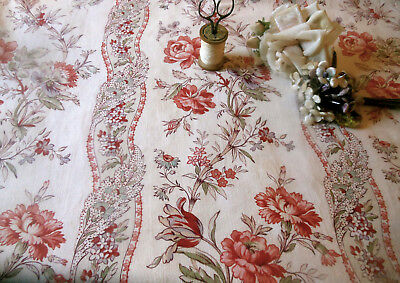 Antique French Floral Garland Cotton Fabric #1~ coral red lavender lilac aqua