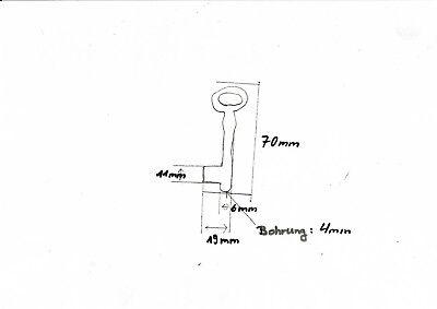 Schlüßel,Schlüssel Rohling weibchen 65 mm mit LochEisen