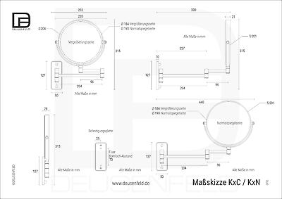 DEUSENFELD K5C - Doppel Wand Kosmetikspiegel Spiegel 5-fach und Normal Ø20cm