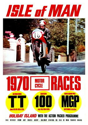 Wall art Reproduction. poster Isle of Man  : Vintage Motorcycle Racing advert
