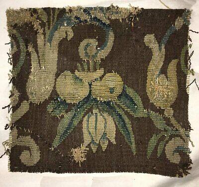 "Antique Verdure Flemish Tapestry Fragment for Throw Pillow, 11"" x 10"", c. 1600s 2"