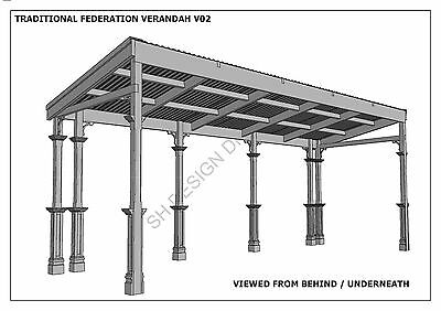 TRADITIONAL TIMBER FLAT ROOF VERANDAH V02 - Full  Building Plans 2D & 3D 8