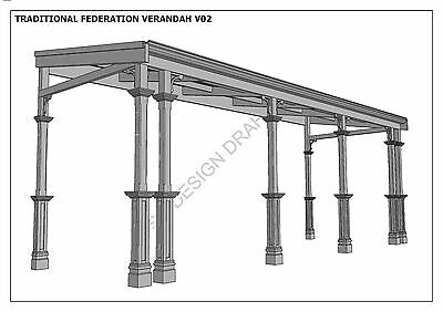 TRADITIONAL TIMBER FLAT ROOF VERANDAH V02 - Full  Building Plans 2D & 3D 6