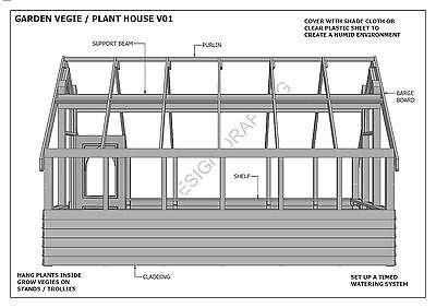 GARDEN HOUSE / GLASS HOUSE - GROW VEGIES & PLANTS - V01 - Building Plans 3D & 2D 5