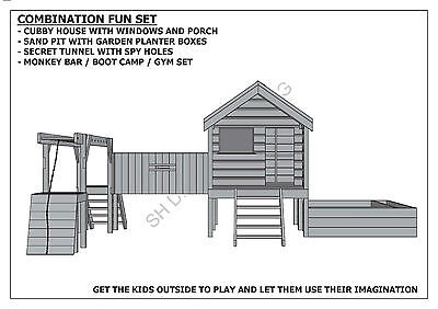 CUBBY PLAY HOUSE / SAND PIT / TUNNEL / PLAY GYM / COMBO - Building Plans V1 5