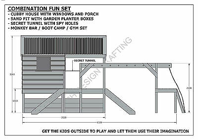 CUBBY PLAY HOUSE / SAND PIT / TUNNEL / PLAY GYM / COMBO - Building Plans V1 6
