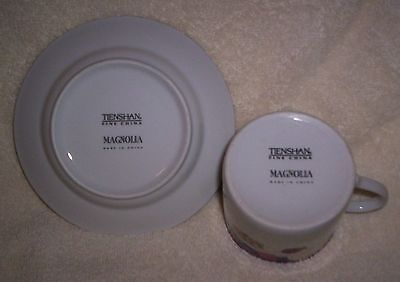 2 of 9 Tienshan Magnolia 5 Piece Plate Setting Dinner Plate Salad Cup Saucer Rim Soup & TIENSHAN Magnolia 5 Piece Plate Setting Dinner Plate Salad Cup ...