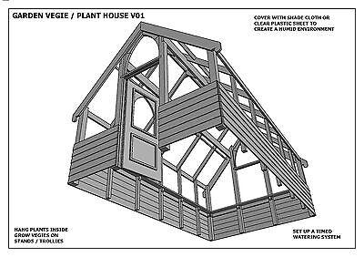 GARDEN HOUSE / GLASS HOUSE - GROW VEGIES & PLANTS - V01 - Building Plans 3D & 2D 7