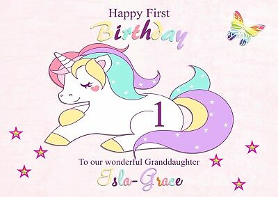 Personalised Pink Girls Birthday Card 1st 2nd 3rd 4th 5th Birthday /'Unicorn/'.