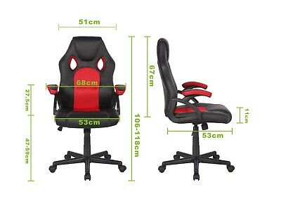 Swivel PU Leather Mesh Office Racing Sport Gaming Style Tilt Computer Desk Chair 3