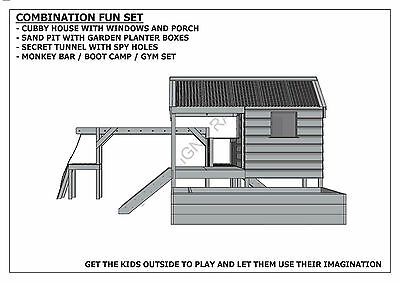 CUBBY PLAY HOUSE / SAND PIT / TUNNEL / PLAY GYM / COMBO - Building Plans V1 8
