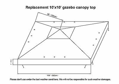 8 of 11 New 10x10u0027 Replacement Canopy Top Patio Pavilion Gazebo Sunshade Polyester Cover  sc 1 st  PicClick & NEW 10X10u0027 Replacement Canopy Top Patio Pavilion Gazebo Sunshade ...