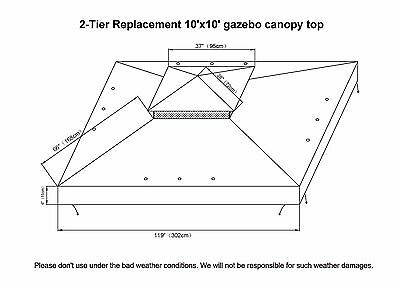 10 of 11 New 10x10u0027 Replacement Canopy Top Patio Pavilion Gazebo Sunshade Polyester Cover  sc 1 st  PicClick & NEW 10X10u0027 Replacement Canopy Top Patio Pavilion Gazebo Sunshade ...