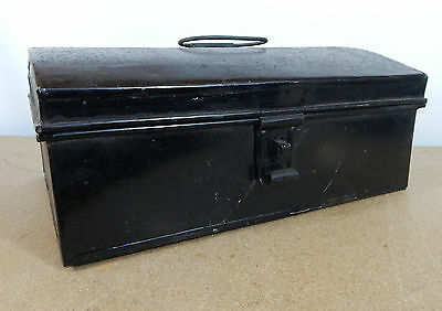 Vintage Tin Dome topper small storage chest Stationary etc 33cm x22cm hasp catch 2