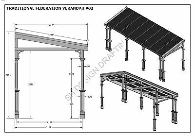 TRADITIONAL TIMBER FLAT ROOF VERANDAH V02 - Full  Building Plans 2D & 3D 10