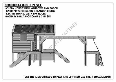 CUBBY PLAY HOUSE / SAND PIT / TUNNEL / PLAY GYM / COMBO - Building Plans V1 9