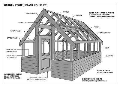 GARDEN HOUSE / GLASS HOUSE - GROW VEGIES & PLANTS - V01 - Building Plans 3D & 2D 4