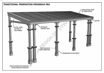 TRADITIONAL TIMBER FLAT ROOF VERANDAH V02 - Full  Building Plans 2D & 3D 7