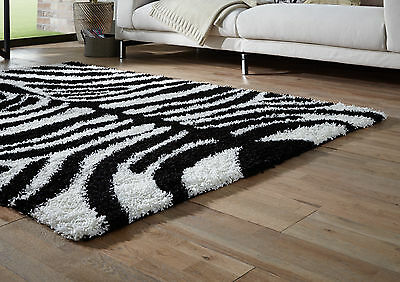 Small- Extra Large Zebra Black White Thick Soft Rug Modern Shaggy Non Shed Rugs 2