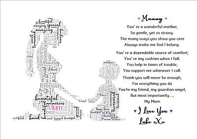 PERSONALISED MUMMY POEM Gifts Mum Mummy Son Daughter Mothers Day Birthday  Gifts
