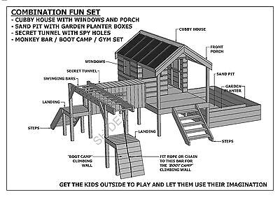 CUBBY PLAY HOUSE / SAND PIT / TUNNEL / PLAY GYM / COMBO - Building Plans V1 3