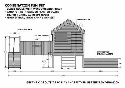 CUBBY PLAY HOUSE / SAND PIT / TUNNEL / PLAY GYM / COMBO - Building Plans V1 7