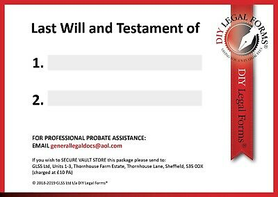 LAST WILL AND TESTAMENT KIT,  NEW 2020 Edition, SUITABLE for 1 or 2 PERSONS. 2