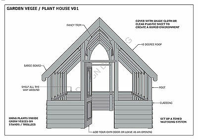 GARDEN HOUSE / GLASS HOUSE - GROW VEGIES & PLANTS - V01 - Building Plans 3D & 2D 6