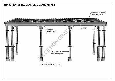 TRADITIONAL TIMBER FLAT ROOF VERANDAH V02 - Full  Building Plans 2D & 3D 9