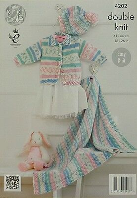 KNITTING PATTERN Baby Easy Knit Jacket withCollar Beret Blanket DK KingCole 4202