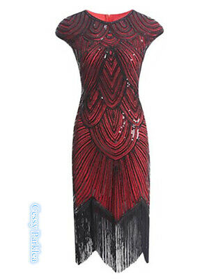 F2 Deluxe Ladies 1920s Roaring 20s Flapper Gatsby Costume Sequins 8-18 Red